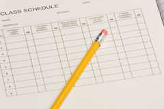 Class schedule. Back to school time - fill out that class schedule Stock Photos