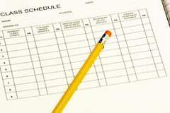 Class schedule with Pencil. Class schedule to be completed for new school year Royalty Free Stock Photo