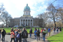 Class of school children at the Imperial War museum in London, England, landmark building Royalty Free Stock Image
