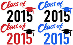 Class of 2015 school graduation date cap. Class of 2015 graduation celebration announcement caps in red and blue school colors Stock Photos
