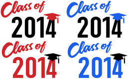 Class of 2014 school graduation date. Class of 2014 graduation celebration announcement caps in red and blue school colors Stock Photo