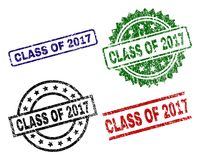 Scratched Textured CLASS OF 2017 Stamp Seals. CLASS OF 2017 seal prints with corroded texture. Black, green,red,blue vector rubber prints of CLASS OF 2017 label stock illustration