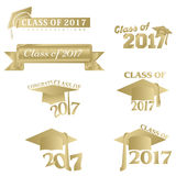 Class of 2017. Seven mnemonics in gold on Class of 2017 or Graduation Day Stock Image