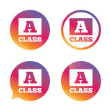 A-class sign icon. Premium level symbol. A-class icon. Premium level symbol. Energy efficiency sign. Gradient buttons with flat icon. Speech bubble sign. Vector Royalty Free Stock Image