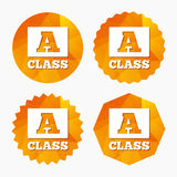 A-class sign icon. Premium level symbol. A-class icon. Premium level symbol. Energy efficiency sign. Triangular low poly buttons with flat icon. Vector Royalty Free Stock Photography
