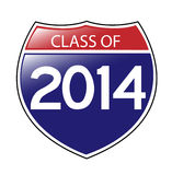 Class of 2014 Sign. Class of 2014 written on an American Interstate sign with an upper left reflection Royalty Free Stock Photo