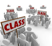 Class Signs Groups People School Students Legal Action Lawsuit. Class signs and people or students gathered in groups around them to illustrate courses in a stock illustration