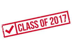 Class of 2017 stamp. Grunge design with dust scratches. Effects can be easily removed for a clean, crisp look. Color is easily changed Stock Image