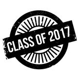Class of 2017 stamp. Grunge design with dust scratches. Effects can be easily removed for a clean, crisp look. Color is easily changed Stock Photo