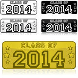Class of 2014 stickers. Stickers shaped like license plates with the words Class of 2014 Royalty Free Stock Image