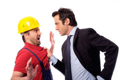 Class struggle manager and worker. Class struggle between manager and worker stock image