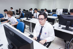 A class of students in front of their screens study computer science. Stock Photos