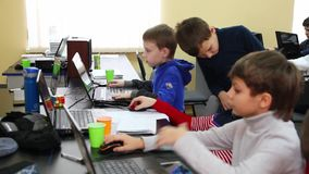 Class training of programmers. Education of children and teenagers. C stock footage