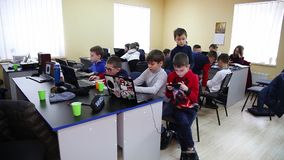 Class training of programmers. Education of children and teenagers. C stock video
