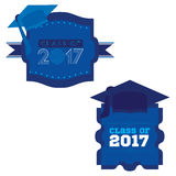Class of 2017. Two mnemonics on Class of 2017 in blue Royalty Free Stock Photography
