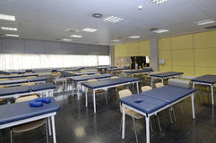 Class university with medical devices. Universitat kind of physiotherapy with stretchers and empty stock photos