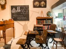 Class View of an Old School at McHenry Museum. An image of learning in the past captured at McHenry Museum in Modesto California stock photo
