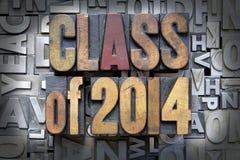 Class of 2014. Written in vintage letterpress type stock photos