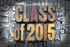 Class of 2015. Written in vintage letterpress type royalty free stock images