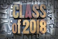 Class of 2018. Written in vintage letterpress type royalty free stock image