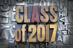 Class of 2017. Written in vintage letterpress type royalty free stock images