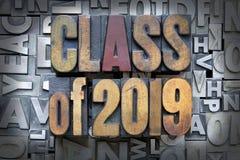 Class of 2019. Written in vintage letterpress type royalty free stock photo