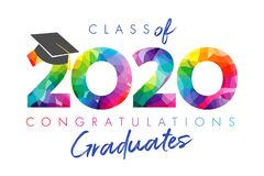 Class of 2020 year graduation banner concept. Class of 2020 year graduation banner, awards concept. Stained 3D sign, happy holiday invitation card. Isolated