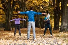 Classe aérobie en parc Image libre de droits