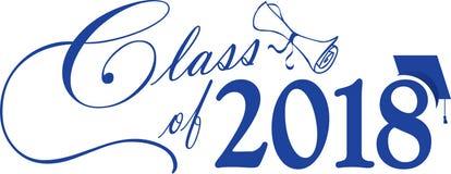 Classe azul de 2018 com tampão e diploma ilustração do vetor