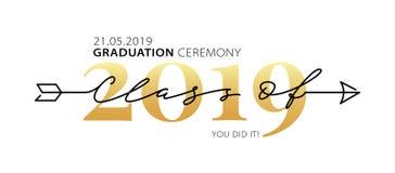 Classe da cerimônia de graduação de 2019 Caligrafia moderna Logotipo da rotulação Anuário graduado do projeto Ilustração do vetor ilustração stock
