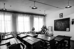 Classe da escola soviética de 50 vezes 60 anos de preto e branco Fotos de Stock Royalty Free