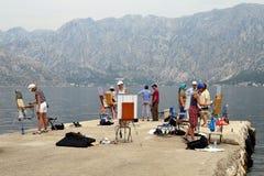 Classe de belas artes em um cais perto de Kotor, Montenegro Imagens de Stock Royalty Free