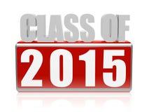Classe de 2015 dans les lettres 3d et le bloc Photos stock