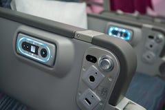 Classe de economia de Qatar Airways em Singapura Airshow 2014 Fotografia de Stock