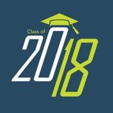 A classe de 2018 felicitações gradua a tipografia ilustração do vetor