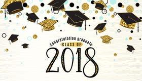Classe de fond d'obtention du diplôme de 2018 avec le chapeau licencié illustration stock