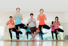 Classe de yoga dans la chambre de studio, groupe de personnes faisant la pose d'arbre et le Na images stock