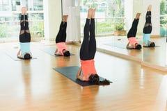 Classe de yoga dans la chambre de studio, groupe de personnes faisant la position de Sarvangasana photographie stock