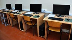 Classe del computer alla scuola Fotografia Stock