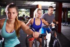 Classe do Gym que dá certo em instrutores transversais junto foto de stock