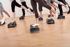 Classe faisant l'aérobic équilibrant sur des conseils Photographie stock libre de droits