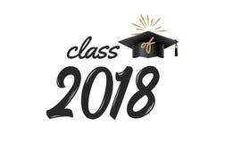 classe 2018 licenciée avec le chapeau Célébration d'éducation d'université d'académie Cérémonie d'étudiant de vecteur Illustration de Vecteur