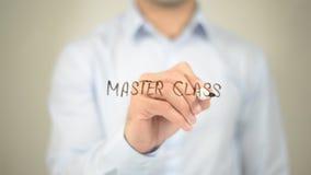 Classe mestra, escrita do homem na tela transparente Foto de Stock