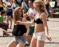 Classe sexy di zumba di ballo degli studenti Fotografie Stock Libere da Diritti