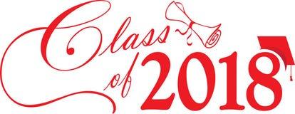 Classe vermelha de 2018 com tampão e diploma ilustração do vetor