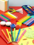 Classes in crafts and art. Colorful equipment for children's classes in art royalty free stock images