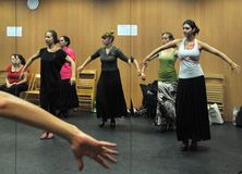 Classes in the dance hall of the flamenco art Center `La Merced` in Cadiz. stock photography