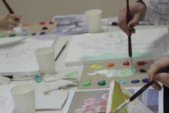 Classes de groupe sur la peinture photo libre de droits