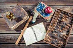 Classes de mathématiques de vintage à l'école Images stock