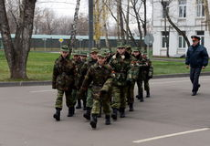 Classes in drill in the cadet corps of the police Stock Images